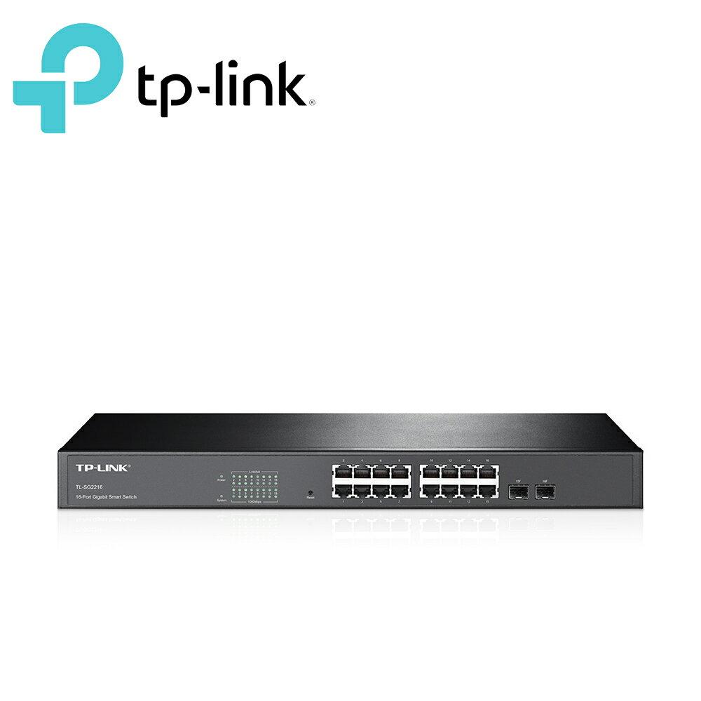 TP~LINK TL~SG2216 16 埠 Gigabit 智慧型 器  2 個 Com