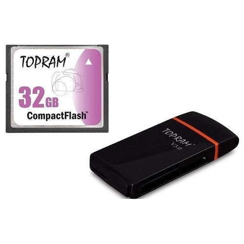 TOPRAM 32GB CF 32G CF 300X CompactFlash Memory Card +RV35 USB 3.0 Reader