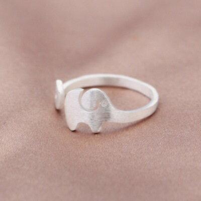~925純銀戒指開口戒~ 可愛磨砂小象七夕情人節 女飾品73dt67~ ~~米蘭 ~