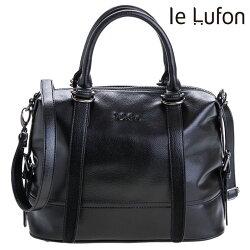 【le Lufon】黑色荔枝紋皮革 垂墜感皮帶金屬扣提把設計兩用手提包(M)  手提包/側背包/斜背包(黑色/酒紅二色)
