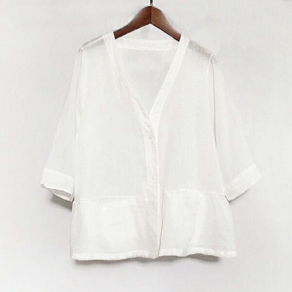 V領絲麻外套婚禮罩衫【68-15-86085-18】ibella艾貝拉