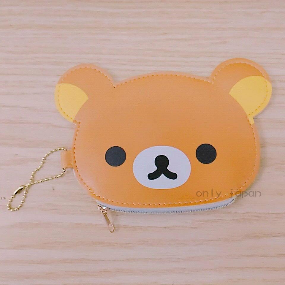 【真愛日本】18020100049 彩邊造型零錢包-懶熊微笑 san-x 拉拉熊 懶熊 收納包 零錢包 小錢包