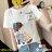 F-DNA★清新小女孩側影印圖圓領短袖上衣T恤(3色-M-2XL)【ET12698】 0