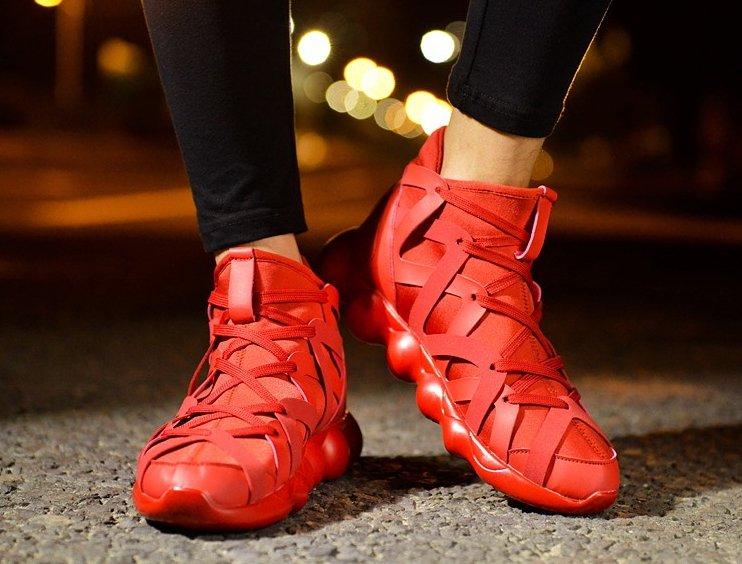 韓國 設計 泡泡鞋 厚底 增高 高筒 暗黑 鞋款 針織綁帶 非 NIKE 絕對平價! 男 女鞋