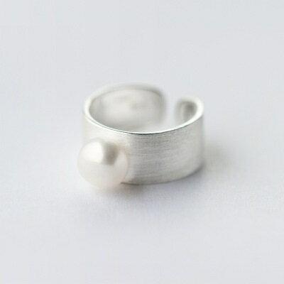 925純銀戒指珍珠開口戒~復古典雅磨砂霧面生日情人節 女飾品2款73dt387~ ~~米蘭