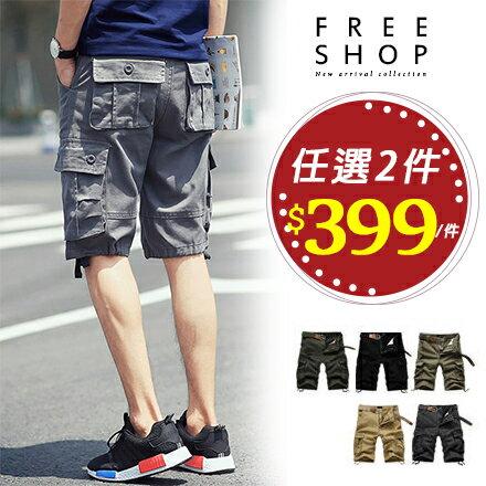 《全店399免運》Free Shop【QTJJD01】美式休閒街頭高磅修身版型褲管抽繩休閒工作短褲‧五色 有大尺碼