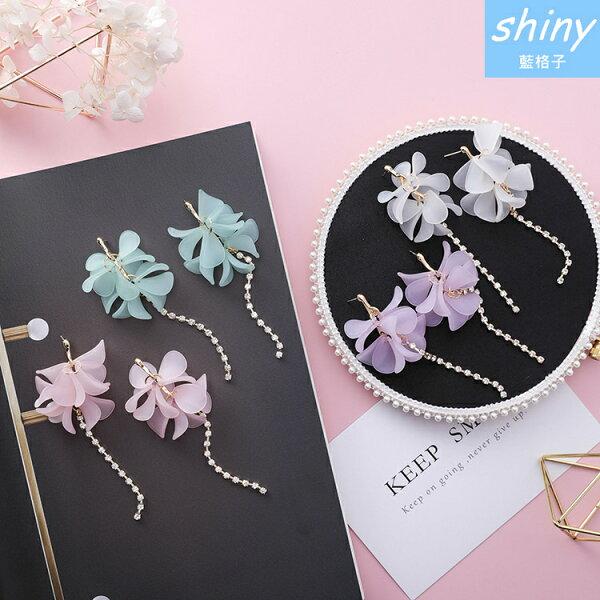 【DJW8402】shiny藍格子-透明花瓣花朵水鑽長流蘇耳環