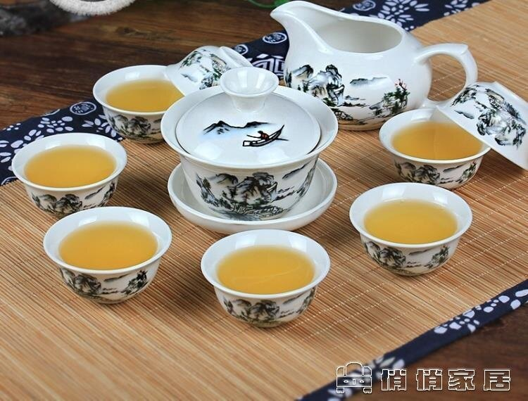 茶具套裝 茶具套裝功夫茶具陶瓷茶杯套裝白瓷整套青花瓷茶杯蓋碗茶具 夏沐生活