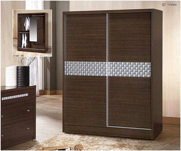 【尚品傢俱】338-01 洛德 胡桃5*7尺推門衣櫃收納櫃