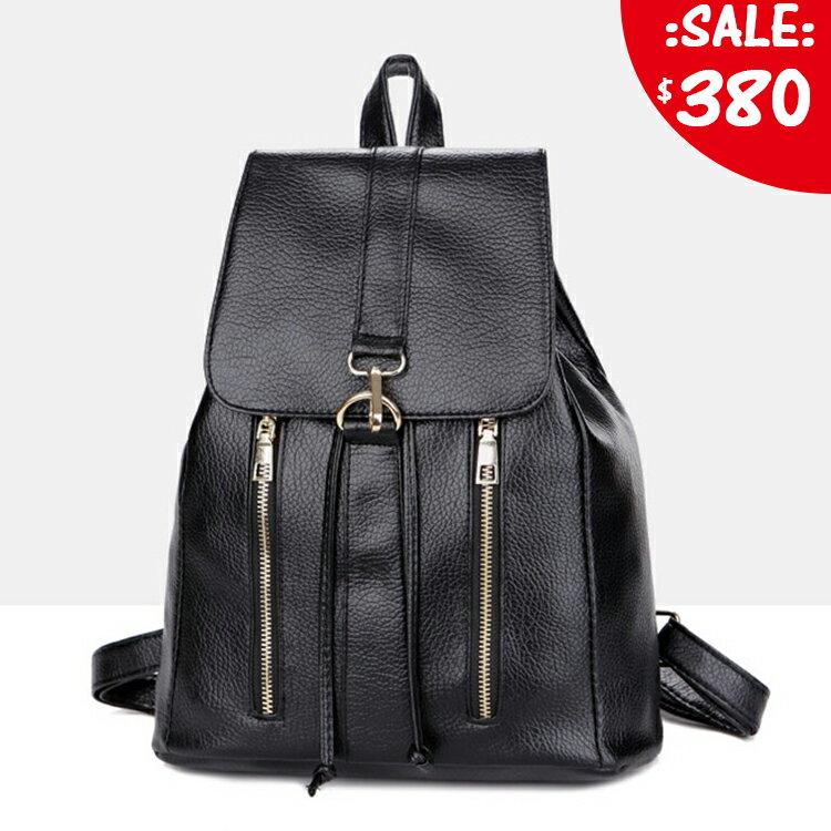 原價780五折380 | [現+預] 韓國大學生荔枝皮金屬雙拉鍊後背包 隨機送錢包唷 超時搭皮革後背包 【GC201BTN】