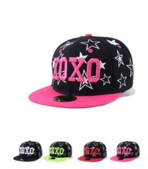 50% OFF~C03293H~韓國版EXO明星同款刺繡XOXO五角星男女嘻哈平沿原單棒球