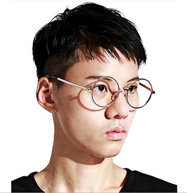 50%OFF SHOP【J004199Gls】原宿款金屬復古圓框眼鏡框 附眼鏡盒 防紫外線 明星款 反光鏡面