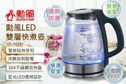 【尋寶趣】雙層LED智慧極速快煮壺 1.7公升 安心型雙層防護 1.7L 防燙手安全快煮壺 HF-3018