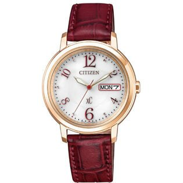 大高雄鐘錶城:CITIZEN星辰錶EW2422-12A玫瑰金典雅時尚光動能錶白面33mm