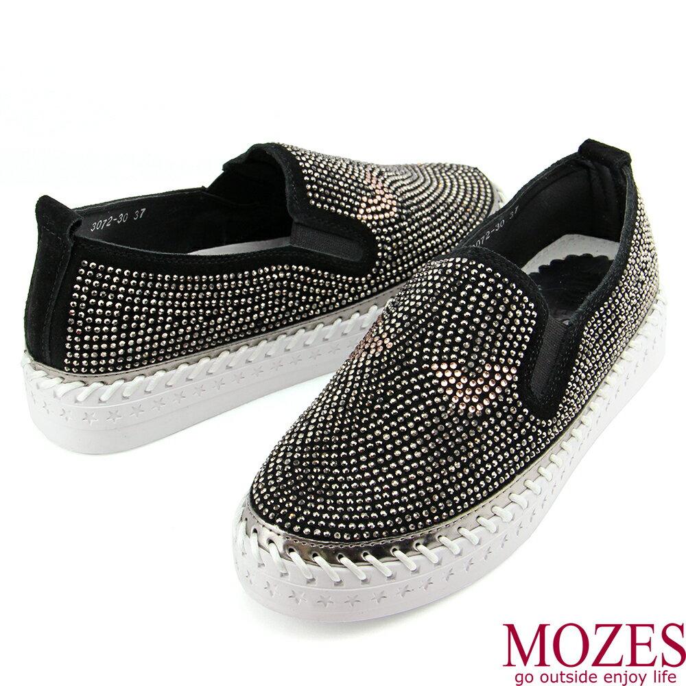 【MOZES】小惡魔水鑽真皮厚底休閒鞋