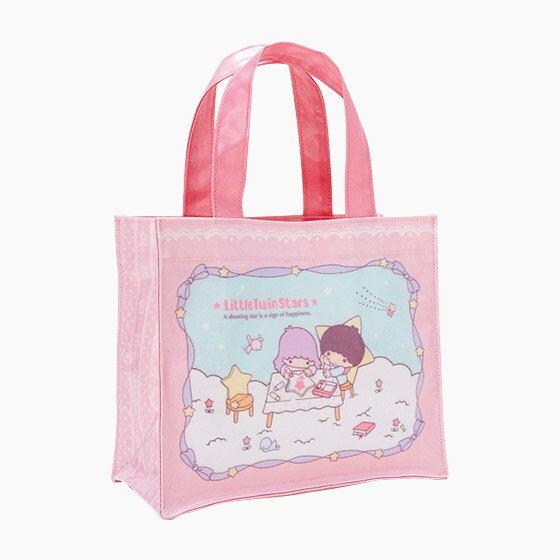 【真愛日本】17050900011 亮膠防水方提袋-TS星雲繪圖粉+AAN 三麗鷗家族 Kikilala 雙子星 手提袋 包包