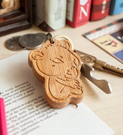 幸福森林.竹製可愛動物鑰匙圈 客製化禮物 白熊媽媽