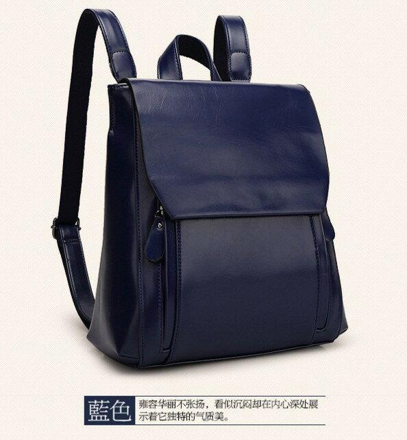 <br/><br/>  新款真皮女包軟面復古學院女士雙肩包背包-藍色<br/><br/>