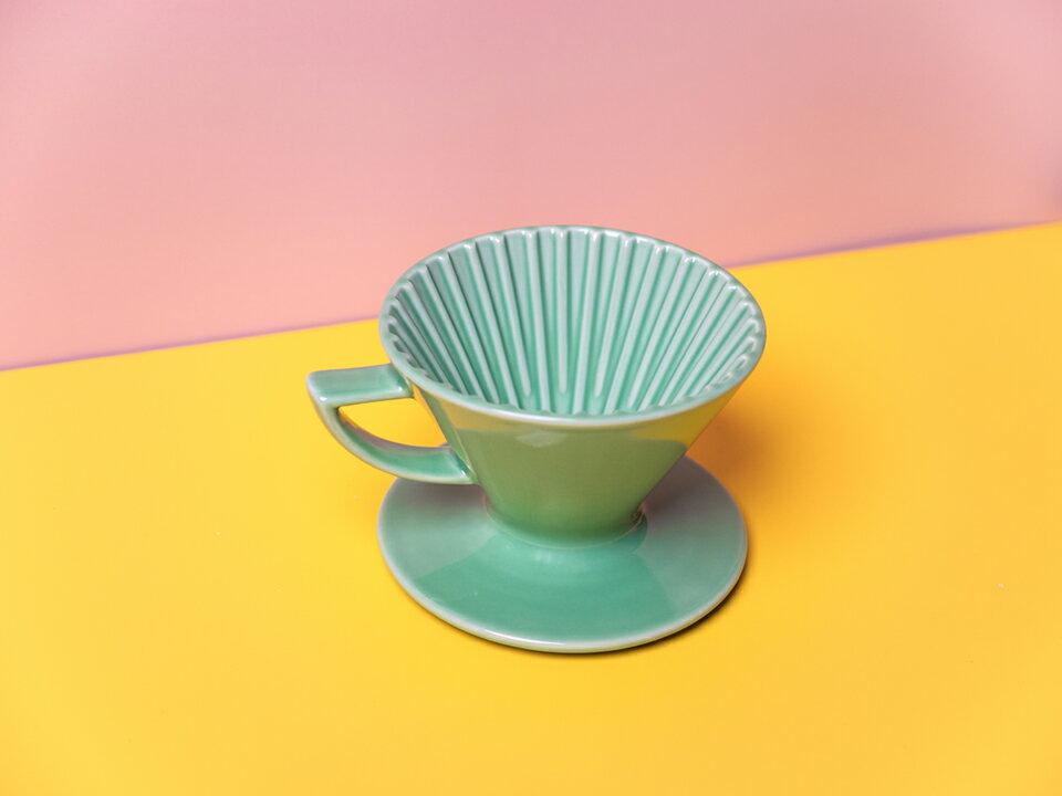 珈堂星芒濾杯-極 綠色 Kadou & Hasami波佐見燒 M1 陶瓷錐形濾杯 (1-2人份) 咖啡濾杯《vvcafe》 2