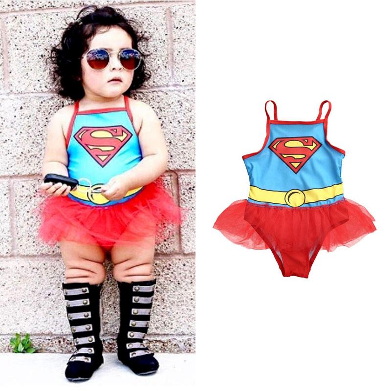 ins 女超人 泳衣 泳裝 比基尼 紗裙 洋裝 芭蕾舞 S 超人 超人裝 萬聖節 聖誕節 生日 童裝 女童 歐美 ANNA S.