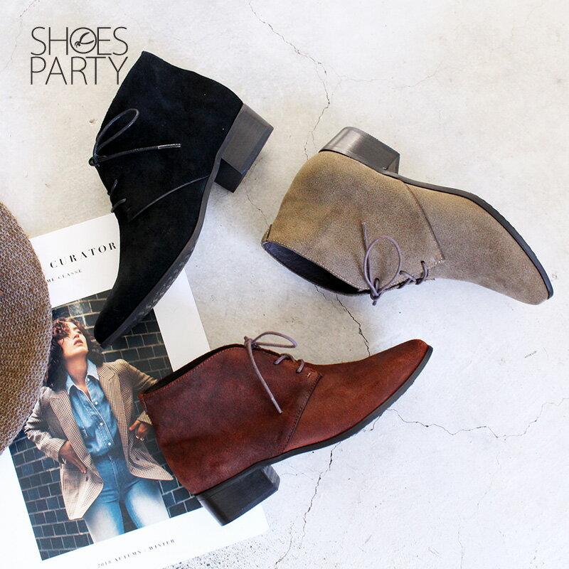 【B2-18121L】率性綁帶小尖頭短靴_Shoes Party 0