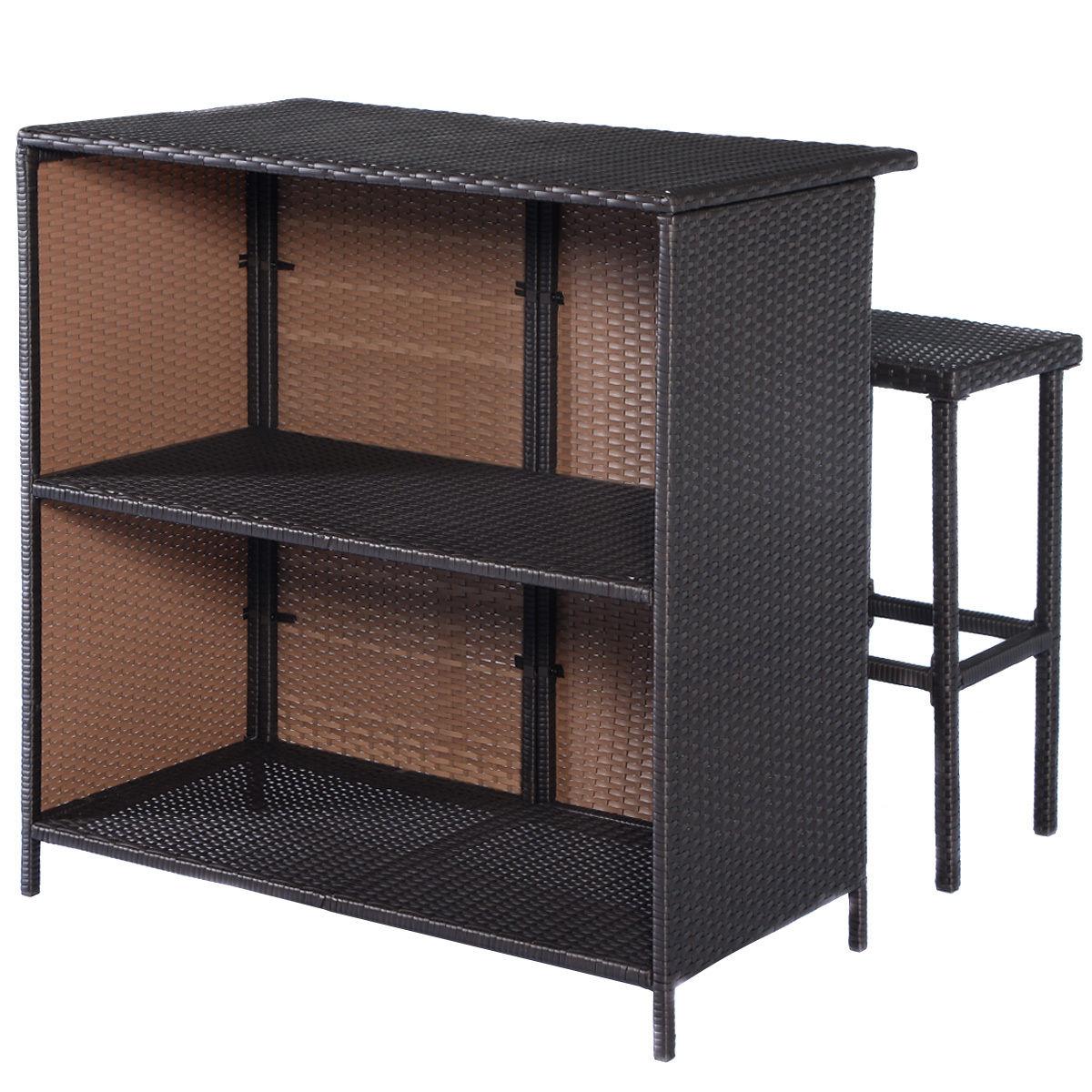 Costway 3PCS Rattan Wicker Bar Set Patio Outdoor Table & 2 Stools Furniture Brown 4