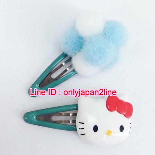 【真愛日本】16101400046雙入劈啪髮夾-大臉白藍毛球球 三麗鷗 Hello Kitty 凱蒂貓 髮飾 飾品 正品 限量