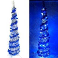 『心可樂活』6尺/6呎(180cm) 彈簧摺疊銀色哈利葉瘦型鉛筆樹聖誕樹 (+LED100燈藍白光一串+藍系吊飾品組)(本島免運費)