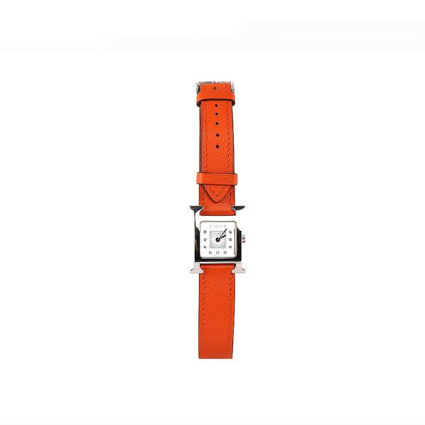 【HERMES】HEURE H PM 雙圈石英女鑽錶(22mm)(附粉鱷魚皮錶帶)(橘色)HE79000007