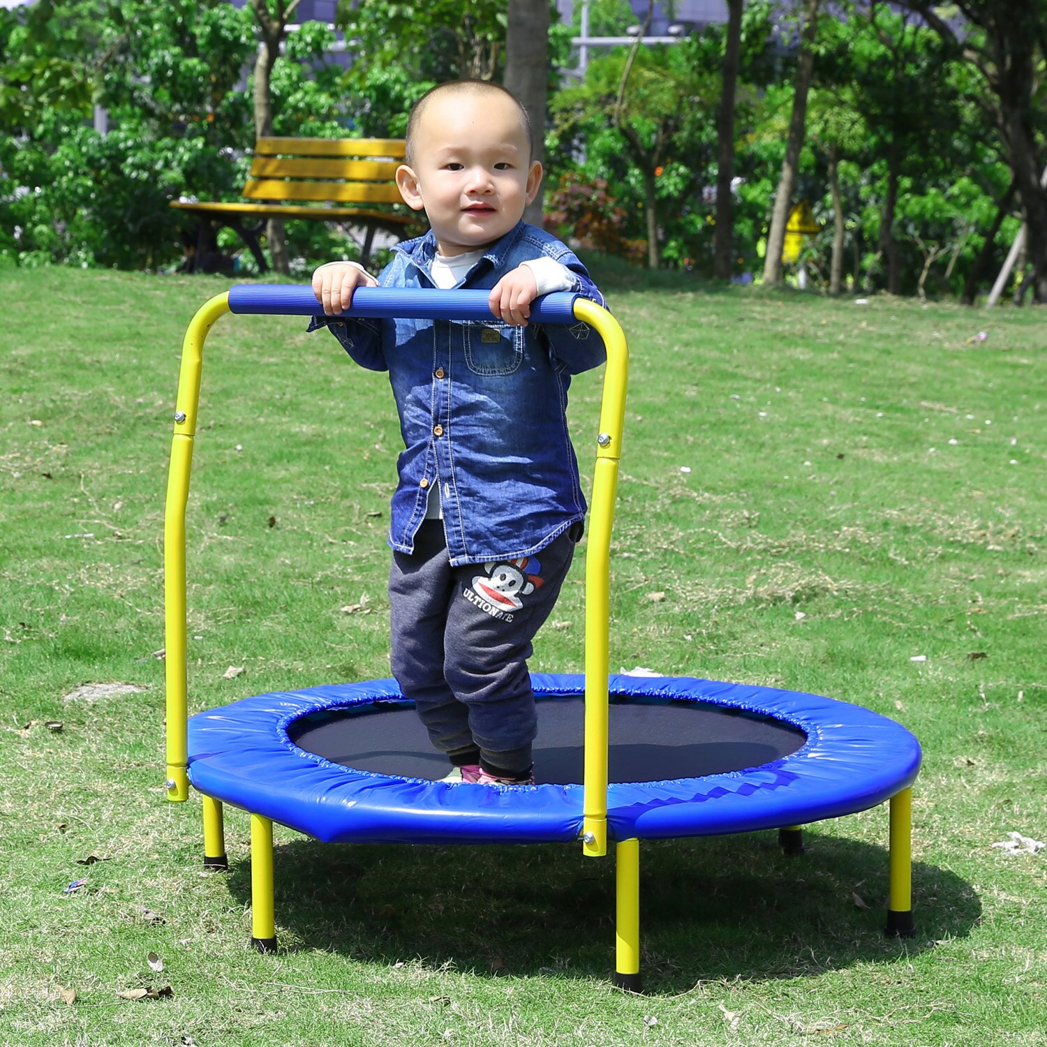 Kids Foldable Durable Construction Safe Trampoline with Padded Frame 5