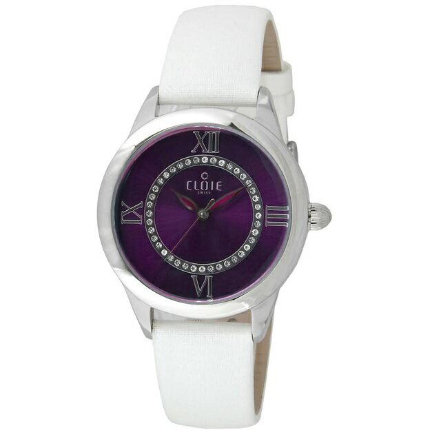 CLOIE 圓形水鑽腕錶 粉色/銀錶帶 37mm CL10015-FA04