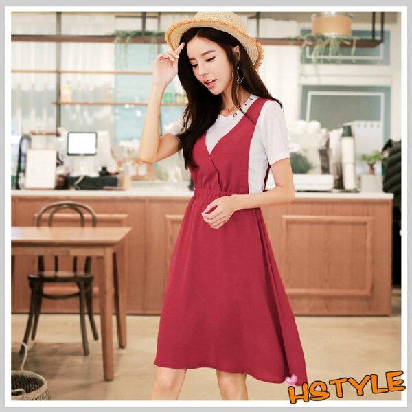 連身裙兩件式刺繡收腰短袖洋裝LU7612-創翊韓都