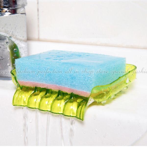瀝水香皂盒 炫彩浴室瀝水吸盤肥皂盒 香皂盒 海綿菜瓜布瀝水盤 肥皂盤 肥皂架【GE327】◎123便利屋◎