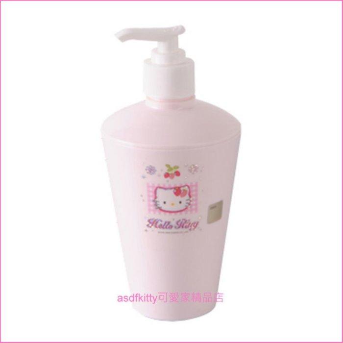 asdfkitty可愛家☆KITTY亮草莓擠壓空罐/空瓶-可裝沐浴乳/洗手乳/洗碗精-韓國製