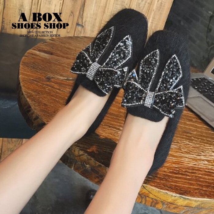 【KD1002】平底圓頭包鞋 毛毛鞋 娃娃鞋 冬季保暖內刷毛 可愛時尚水鑽蝴蝶結 黑色