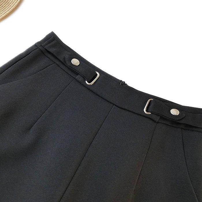 短褲 素色 金屬 裝飾 雙邊釦子 後拉鍊 寬管褲 百搭 短褲【HA855】 BOBI  02 / 14 5