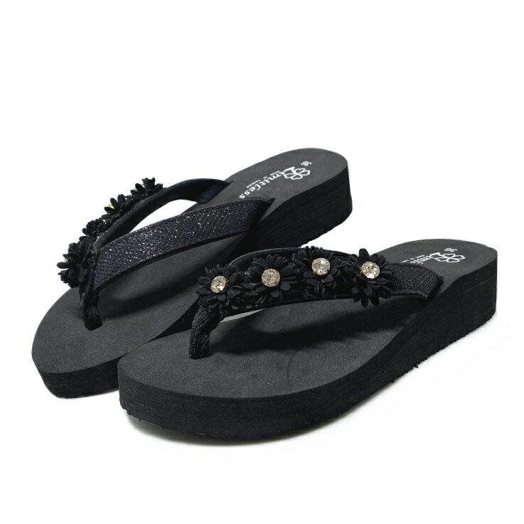 【滿額領券↘折$120】Limitless利米堤司 女款花朵3.5cm厚底夾腳拖鞋 [3142] 黑 MIT台灣製造【巷子屋】