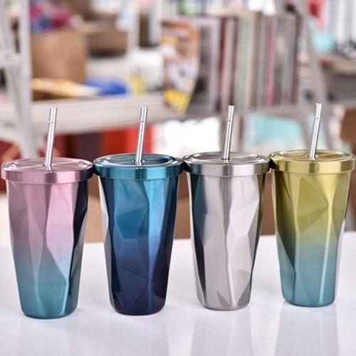 PSMall漸變色杯子菱形真空保溫杯帶吸管不銹鋼雙層水杯500ml【J527】