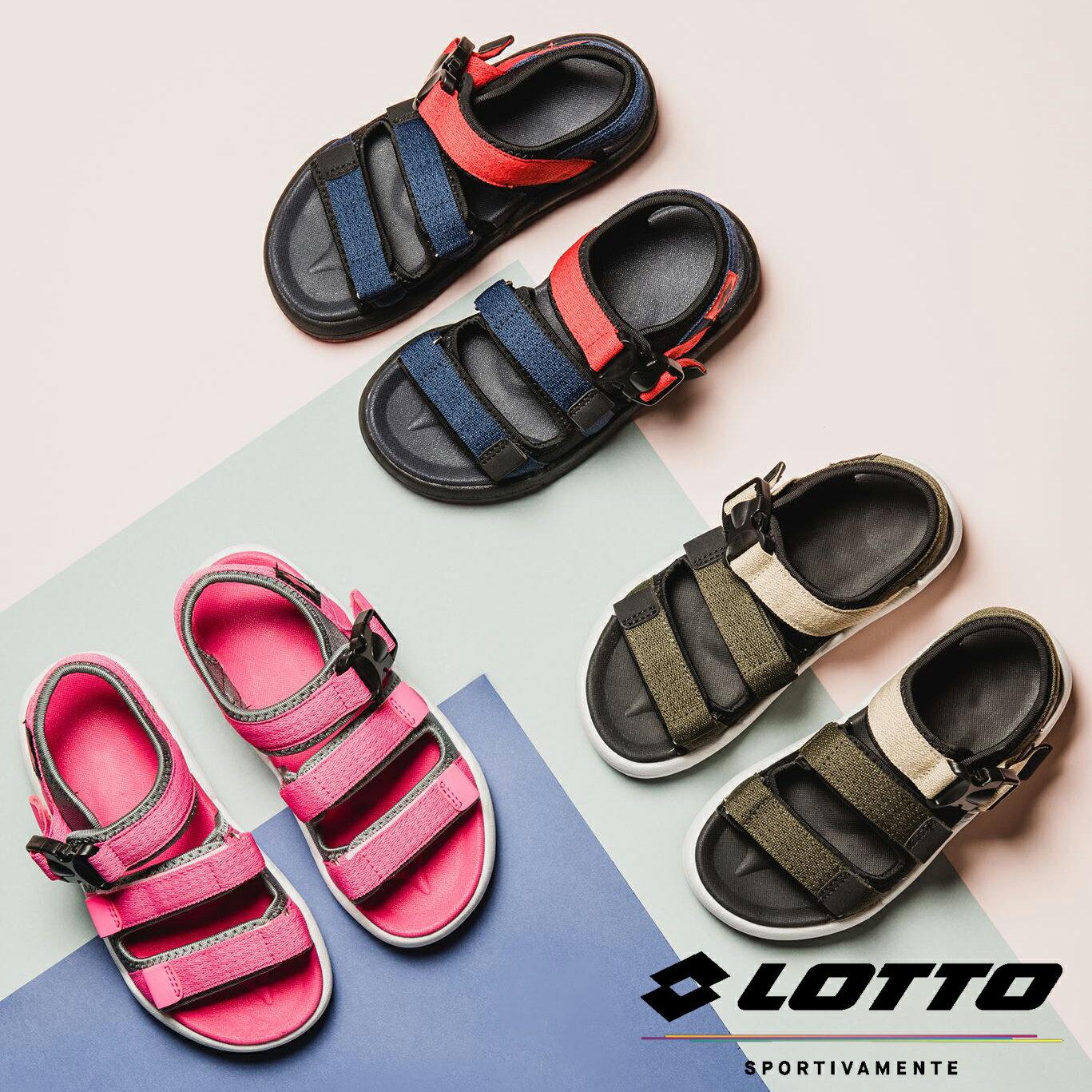 【巷子屋】義大利第一品牌-LOTTO樂得 童款輕量織帶涼鞋 [6383粉紅 6385軍綠 6386藍紅] 超值價$750