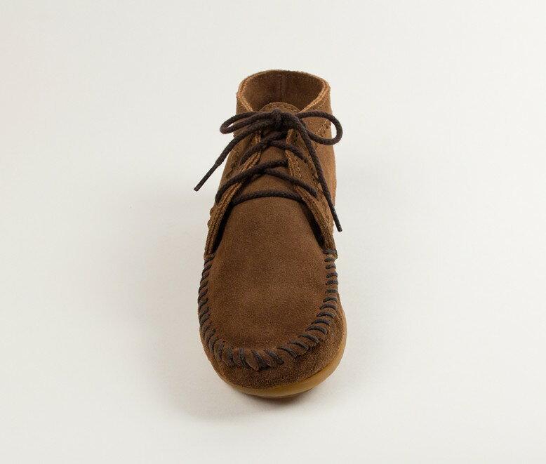 【Minnetonka 莫卡辛】棕色 - 印地安手工麂皮踝靴 3