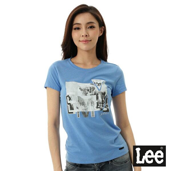 Lee Jeans tw:【精選上衣3.5折】Lee雷射印花短袖T恤-女-藍【單筆消費滿1000元全會員結帳輸入序號『CNY100』↘折100