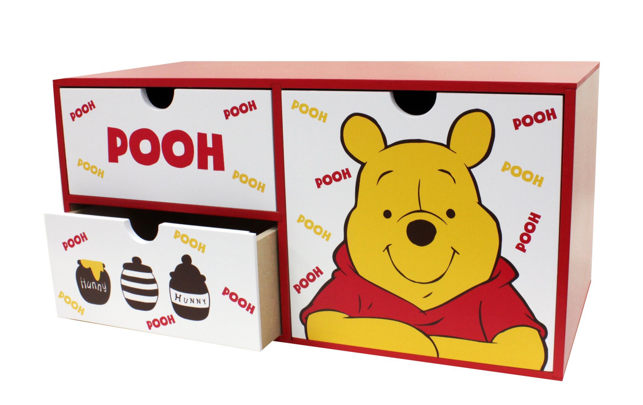 【真愛日本】17072100010 橫式抽屜置物盒-PH 迪士尼 小熊維尼 POOH 小豬 木製收納櫃 抽屜櫃子