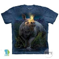 【摩達客】(預購) 美國進口The Mountain 麒麟犀牛 純棉環保短袖T恤