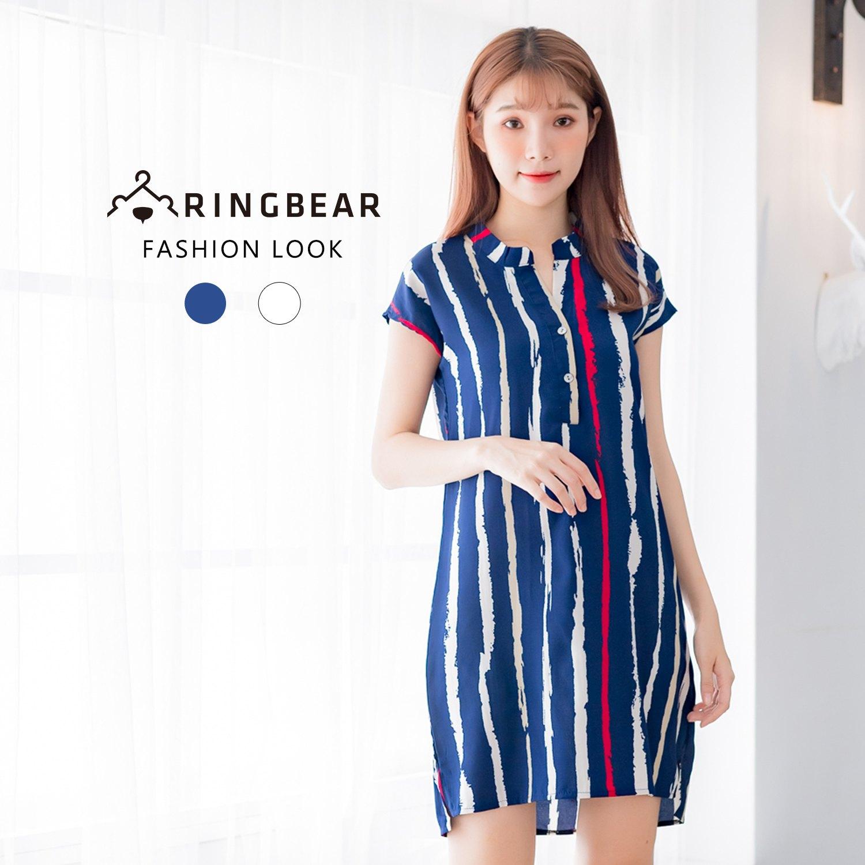 連身洋裝--個性風V領修飾輕柔涼爽條紋俐落短袖洋裝(白.藍M-3L)-D478眼圈熊中大尺碼 1