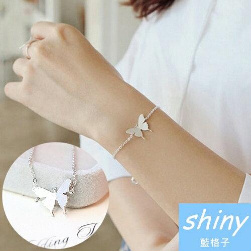 【DJX4309】shiny藍格子-時尚蝴蝶造型手鍊