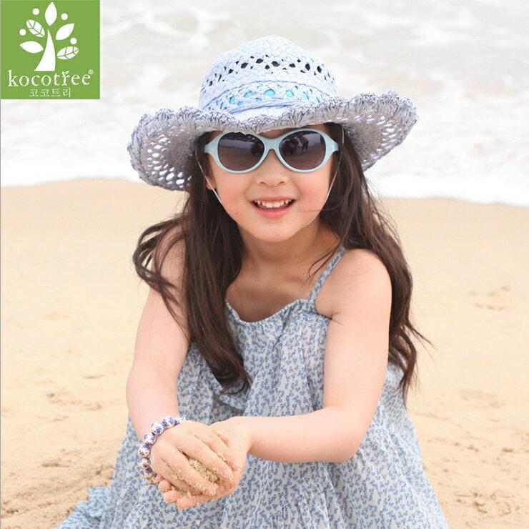 Kocotree◆時尚花朵水晶鑽氣質純色嫩色百搭兒童太陽眼鏡-深藍色