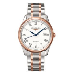 LONGINES 浪琴 L28935117巨擘經典雙色玫瑰金羅馬優雅機械腕錶/白面42mm