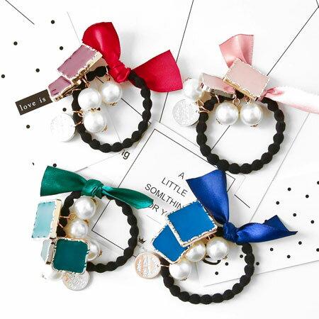 法式蝴蝶結珍珠緞帶髮圈 髮束 髮圈 髮飾 髮繩 飾品 簡約 蝴蝶結 珍珠 緞帶【N102316】