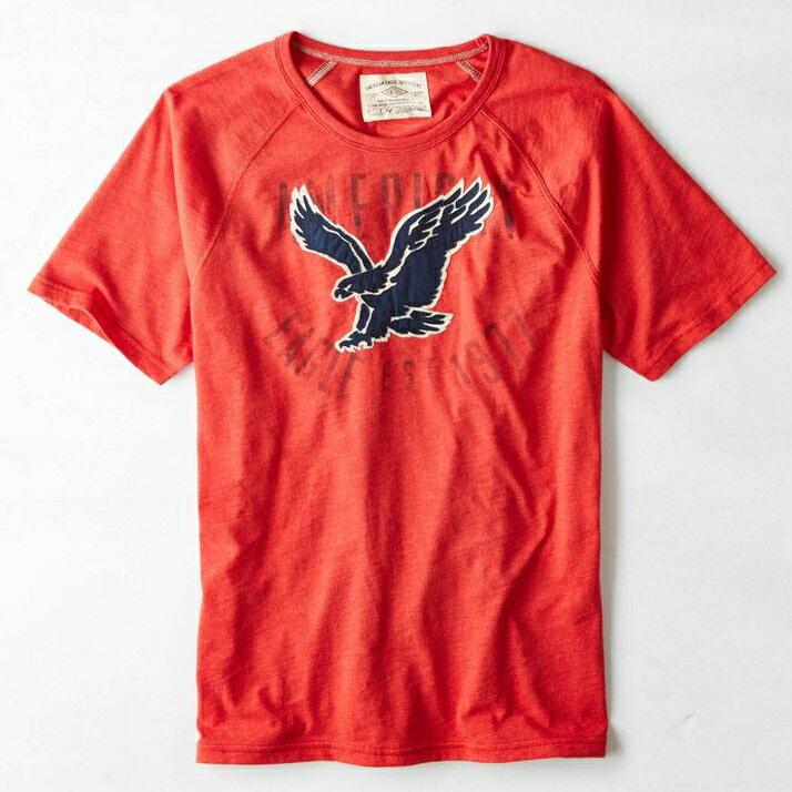 美國百分百【American Eagle】T恤 AE 短袖 上衣 T-shirt 老鷹 貼布 橘紅 男 XS S號 F258