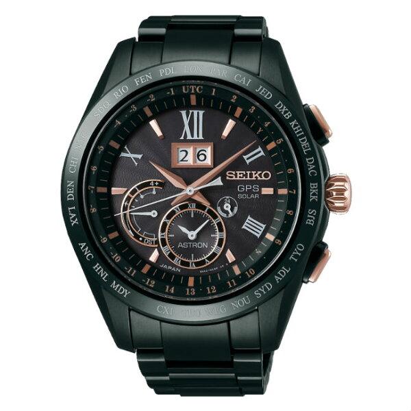 SeikoAstron8X42-0AB0K(SSE141J1)太陽能GPS對時大視窗日期鈦金屬腕錶黑面44.8mm